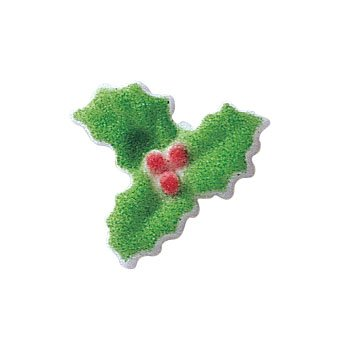 christmas holly sugar decorations winter holiday cookie cupcake cake 12 count - Christmas Holly Decorations