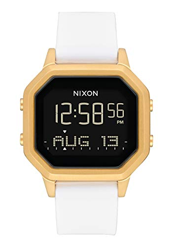 Nixon Siren SS Black/Gold/White Women's Water-Resistant Digital Watch (36mm. Black Digital Face with Gold Stainless Steel Case/White Ultra-Soft Silicone Band)