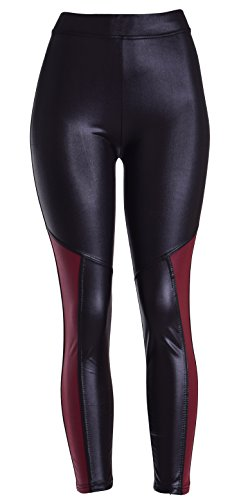 Women's Sexy Shiny Metallic Stretchy Black High Waist Faux Leather Leggings 31H0plHjQTL