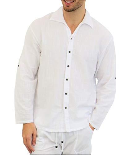PURE PLANT HOME Men's White Shirt 100% Cotton Casual Hippie Shirt V-Neck Drawstring Short Sleeve Beach Yoga Top (White 1, Medium) (Mens Long Sleeve T Shirts For Sale)