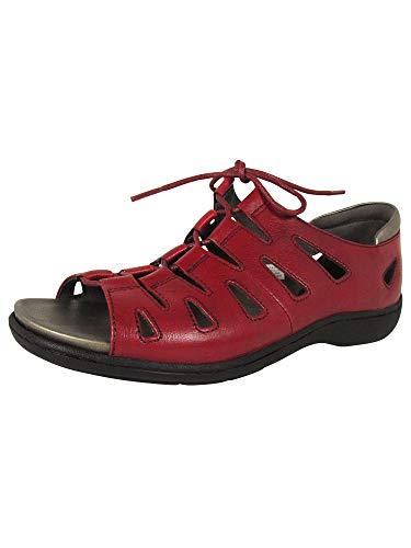 Aravon Women's Bromly Ghillie Flat Sandal, Red, 7.5 B US