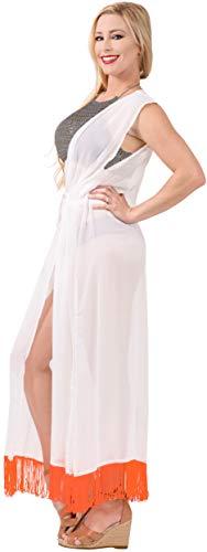 Ganchillo Playa La De Solar Ropa Praia D Midi Vendimia Kimono Leela Protector Blanco a285 Cardigan Encaje Gasa Mujeres Vestido Exóticas Largo Borlas wzUwqS