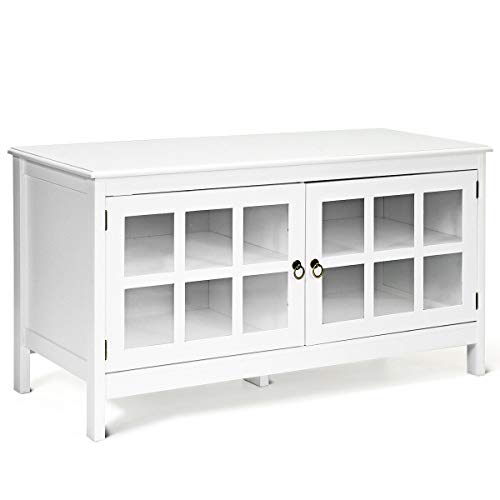 White Wood Modern TV Stand for 50 Inch TV with Storage and Glass Doors for Living Room, Bedroom, Entertainment Center, Media Console Table, Home Furniture