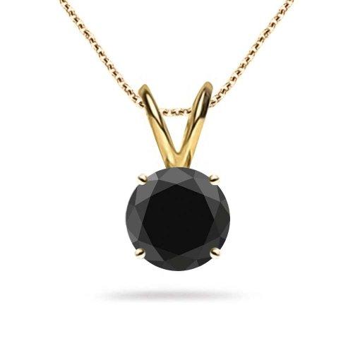 (Jascina 0.25 Carat Diamond Natural Black AAA 4 Prong Basket Solitaire Pendant Necklace 14k Yellow Gold 18