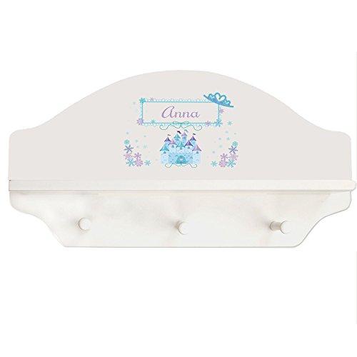Personalized Ice Princess White Three Peg Shelf
