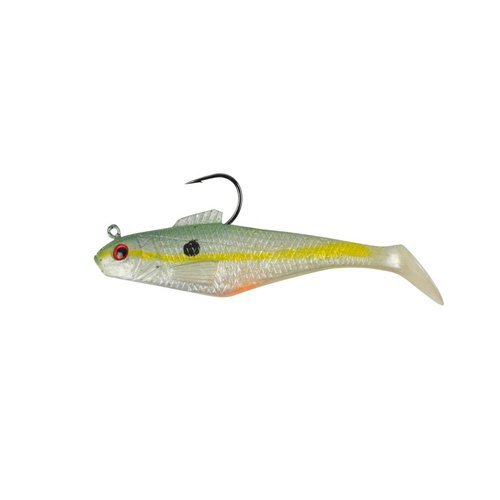 PowerBait Pre-Rigged Swim Shad Soft Bait - Chartreuse Shad - 4in | 10cm - Bass