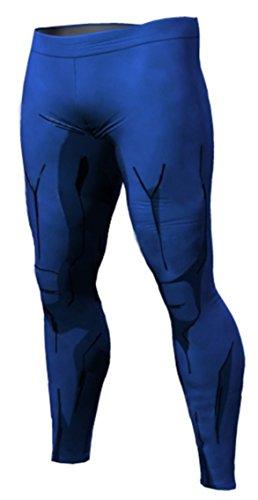 RF Sports Active Pants Anime Dragon Ball Vegeta Style Leggings Yoga Pants for Running Sports Fitness Gym (L, Blue)