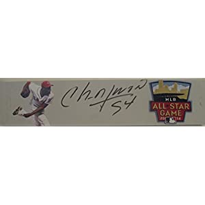 Cincinnati Reds Aroldis Chapman Autographed Hand Signed 2014 MLB All Star Game Photo Schutt Pitching Rubber with Proof Photo and COA