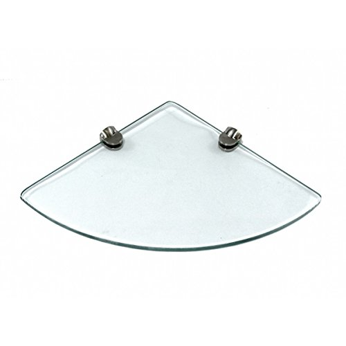 "9""x9"" Floating Corner Glass Shelf FLAT 6mm"