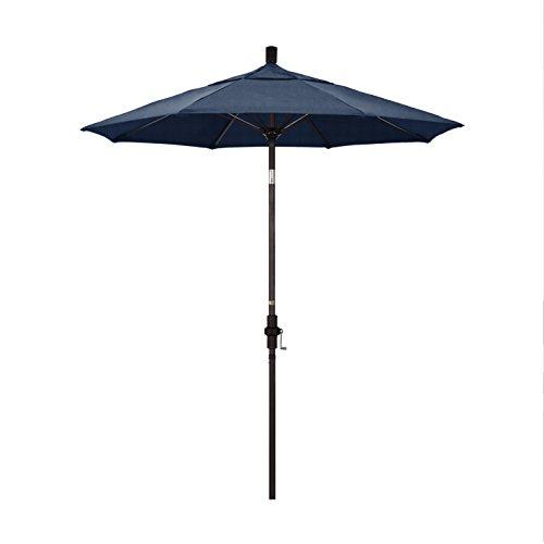 California Umbrella 7.5' Round Aluminum Pole Fiberglass Rib Market Umbrella, Crank Lift, Collar Tilt, Bronze Pole, Sunbrella Spectrum Indigo (Patio Collar Tilt Umbrella)
