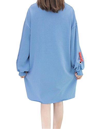 Cappuccio Donna Manica Inverno Per La Camicetta Cartoon Blu Lunga Ragazza Felpa Con Felpa Autunno Pullover Lettere DaBag Elegante Camicetta 0AnEwOOq