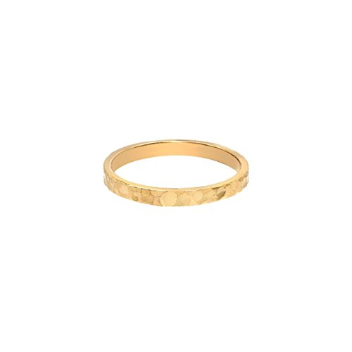 Tousi Jewelers Hammered Ring- Solid 14k or 18k Yellow Gold Wedding Bands Jewelry for Women- Free Personalized and Engraved Name and Initial or Message by TOUSI JEWELERS