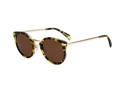Celine Women's 41373 Green Tortoise / Gold Frame/Brown Lens Metal/Plastic - Lens Brown Plastic