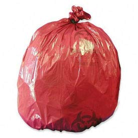 Medegen Red Biohazard Can Liners, 1.2 mil, 10 Gallon, 24''W x 24''L, 50/Box, (Pack of 5) (RIWB142424)