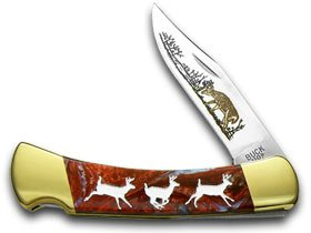 BUCK 110 Folding Hunter Custom Santa Fe Blue Corelon Running Deer 1/400 Pocket Knife Knives by Buck