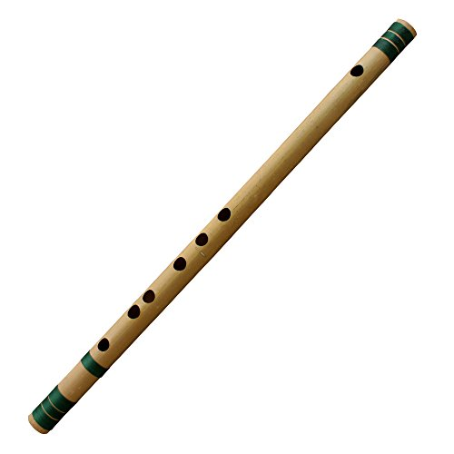 Indian Bansuri Flute Bamboo Transverse, Key-C#, 18 Inches Long - Professional Woodwind Musical Instruments