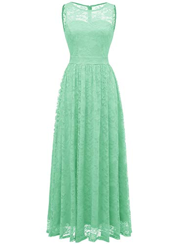 Wedtrend Women's Floral Lace Long Bridesmaid Dress Party GownWTL10007B-MintS