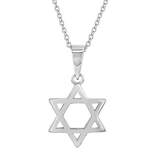 925 Sterling Silver Star Pendant - 925 Sterling Silver Small Star of David Medal Jewish Children Necklace 19