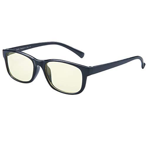 Duco Full Rim Ergonomic Video Gaming Glasses Computer Glasses with Anti Glare Amber Lens Tint 8016 (Shine ()