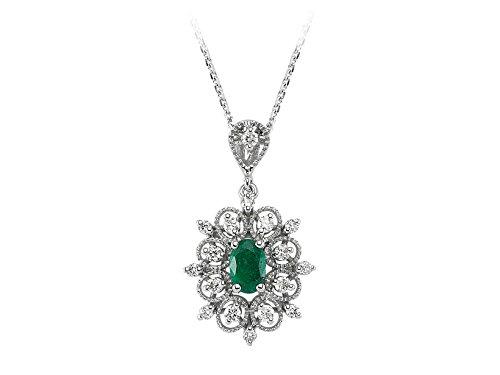Pendentif Emeraude et Diamants-Femme- or Blanc 206P0021