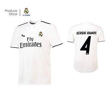 2af151a99 Camiseta 1ª Equipación Real Madrid 2018-2019 - Replica Oficial con Licencia  - Dorsal 4 Sergio Ramos - Talla XXL Adulto  Amazon.es  Deportes y aire libre