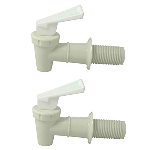 - Plastic Faucet Twin-pack, White, Spigot (3/4 Inch), BPA Free, Water/ Beverage Dispenser, Gravity Feed, Made USA, Lab Faucet, FDA - Approved, with Washers and Nuts
