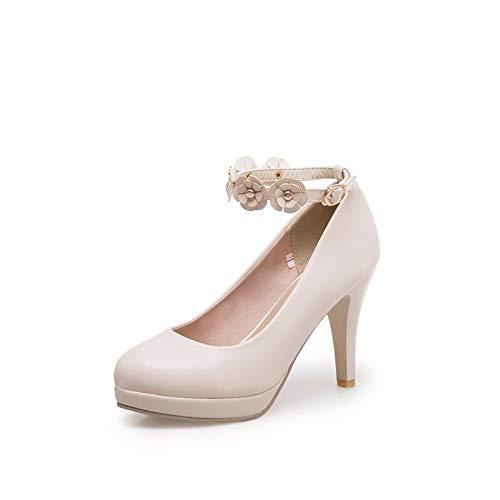 Beige Polyurethane Summer Spring Pink amp; Black Pu Women'S Stiletto Comfort QOIQNLSN Beige Heels Shoes Heel anWRwC