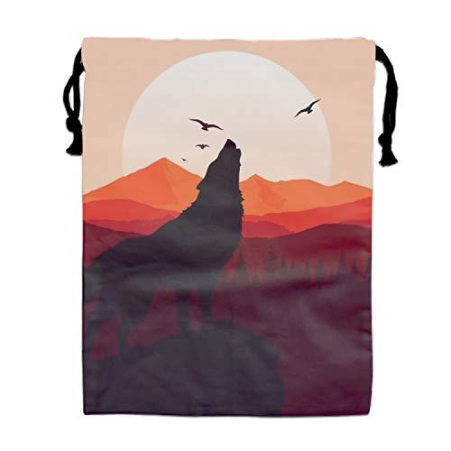 Price comparison product image Print Drawstring Backpack Wolf Howling Background Sack Shoulder Gym Bag