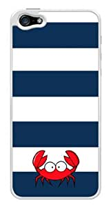 Cute Red Crab Blue Stripes Snap-On Cover Hard Plastic Case for iPhone 5/5S (White)