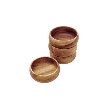 Pacific Merchants Trading Acaciaware Round Calabash Bowl, 3.5-Inch by 1.5-Inch, Set of 4