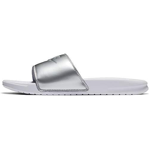 NIKE Women's Benassi JDI Sandal (11 B(M) US, White/Wolf Grey/Metallic ()