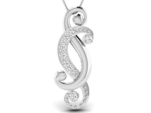 Or Blanc 14 ct Pendentifs Diamant , 0.04 Ct Diamant, GH-SI, 0.86 grammes.