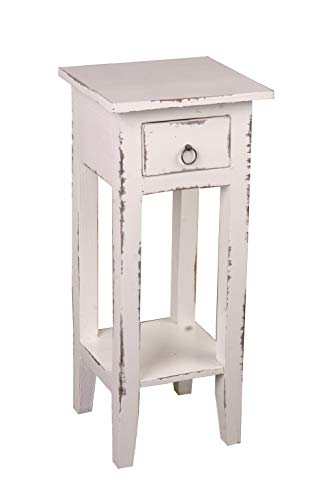 Sunset Trading CC-TAB1792LD-WW Shabby Chic Cottage Table, Small One Drawer, Light Distressed Whitewash