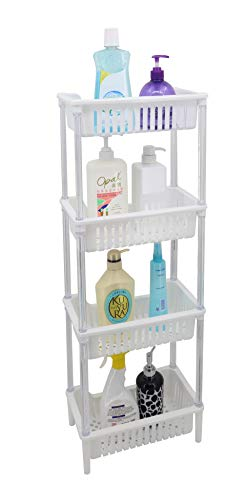 ALL FOR YOU 4-Tier Heavy Duty Plastic Rack/Organizer/ Shelves with Clear Tubes -Rectangular Shape (White)
