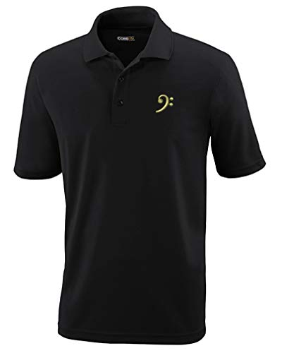 Polo Performance Shirt Black Bass Clef Gold Embroidery Design Polyester Golf Shirt for Men Black Medium Design Only