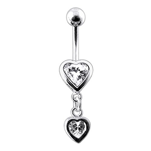Heart Sterling Silver Belly Button Ring (White Gemstone Fancy Double Heart Dangling 925 Sterling Silver with Stainless Steel Belly Button Rings)