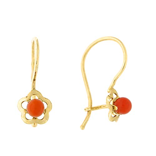 14k Yellow Gold Simulated Coral Open Flower Kidney Wire Drop Earrings