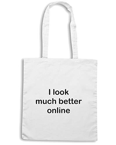 T-Shirtshock Borsa Shopper Bianca TDM00110 I LOOK MUCH BETTER ONLINE