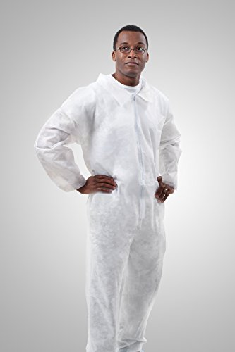 Tronex- Spunbond Coverall Jumpsuit, Medical Grade, Fluid-Resistant, Open Ankles & Cuffs, White, Large (Bag of 5)