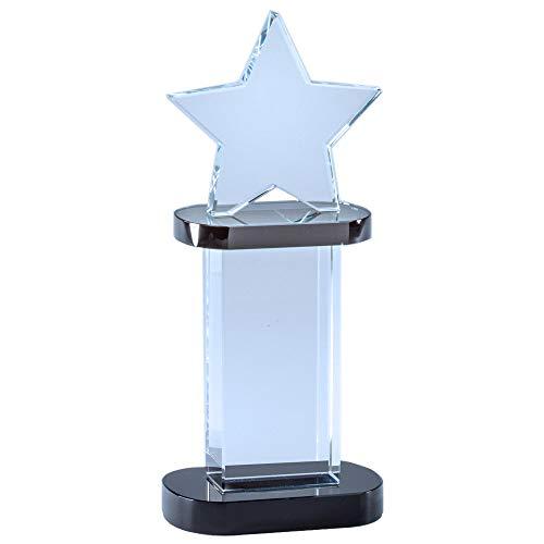 Star Tower Crystal Award - Customizable 8-1/4 Inch Optical Crystal Star Tower Award on Black Base, Includes Personalization