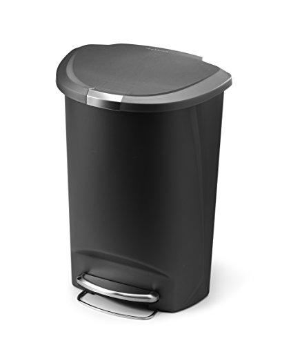 simplehuman Semi-Round Step Trash Can, Grey Plastic, 50 L / 13.2 Gal