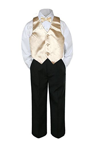 (4pc Formal Baby Teens Boy Champagne Vest Bow Tie Black Pants Suit S-14 (6))