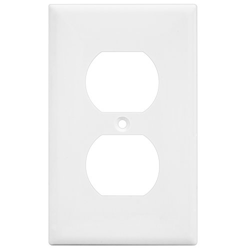 "V2 Dimmer (Enerlites 8821M-W 1-Gang Duplex Electrical Outlet Switch Wall Plate Cover, Medium Mid-Size 4.88"" Height x 3.11"" Length, Unbreakable Polycarbonate, White)"
