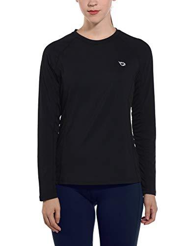 Baleaf Women's Long Sleeve Running T-Shirts Workout Tops Quick Dry Black M