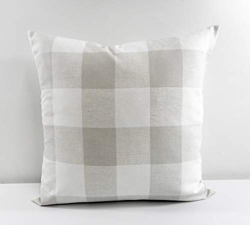 French grey & white Buffalo check Pillow cover. Sham cover. Select size.
