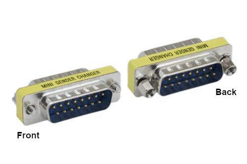 KENTEK Mini DB15 15 Pin Male to Male M/M for PC MAC VGA Mini Adapter Gender Changer Coupler D-Sub (Gender Db15 Mini Changer)