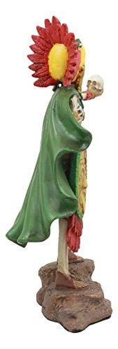 Ebros Tenochtitlan Aztec Eagle Warrior Skeleton Statue Day of The Dead Skull Phantom Chief Warrior Sculpture Figurine