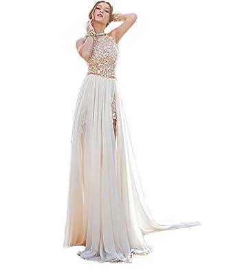 Ikerenwedding® Women's High Neck Flower Lace Beaded Beach Wedding Party Dress