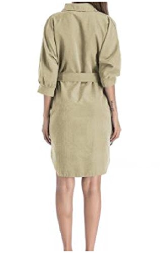 Collar Turn Trenchcoat Belt Khaki Women's Army Dress Tunic Shirt Coolred Down 1q4wC