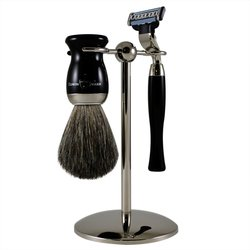 3-Piece Ebony Nickel Plated Mach 3 Shaving Set shave set by Edwin Jagger by Edwin Jagger